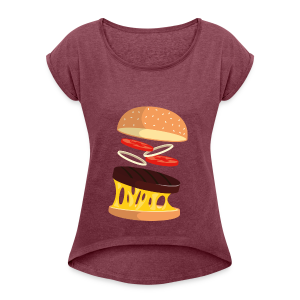 Hamburger Men - Women's T-shirt with rolled up sleeves