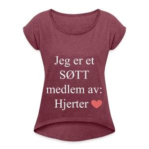 SØTT Medlem - T-skjorte med rulleermer for kvinner