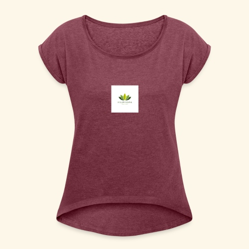 logo - T-shirt med upprullade ärmar dam