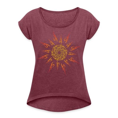 sun word - T-shirt à manches retroussées Femme