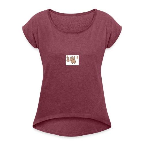 Kaninchen - Frauen T-Shirt mit gerollten Ärmeln
