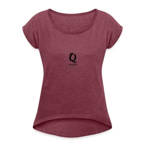 queens logo - T-skjorte med rulleermer for kvinner