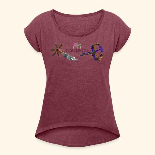 Logo groß mit Fahrgeschäften - Frauen T-Shirt mit gerollten Ärmeln