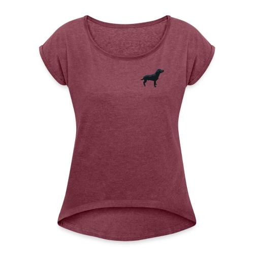 Labrador stehend - Frauen T-Shirt mit gerollten Ärmeln