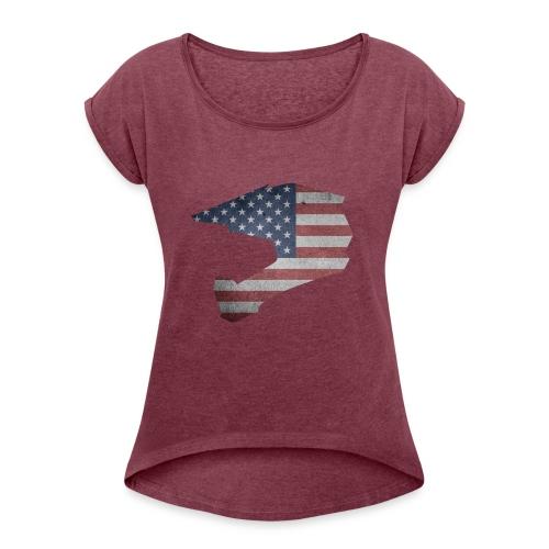 DOWNHILL HELM USA STYLE - Frauen T-Shirt mit gerollten Ärmeln