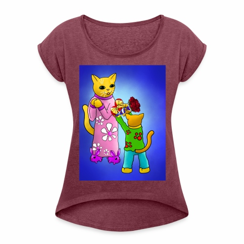 Mothers Day Cats - Women's T-Shirt with rolled up sleeves