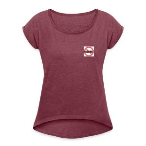 Gegen Rauchverbot Logo - Frauen T-Shirt mit gerollten Ärmeln