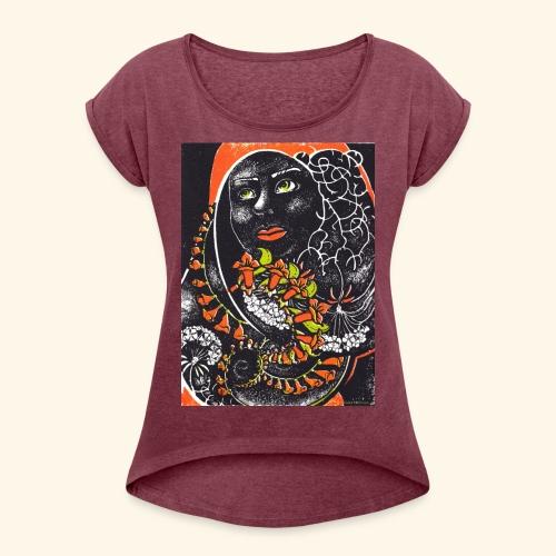 Musta madonna - Naisten T-paita, jossa rullatut hihat