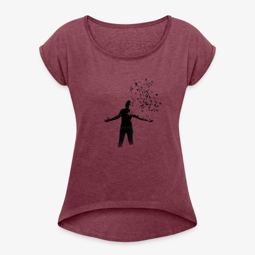 Coming apart. - Women's T-shirt with rolled up sleeves