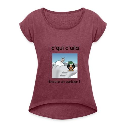 neige parisien - T-shirt à manches retroussées Femme