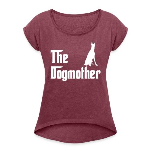 The Dogmother white dobermann - Frauen T-Shirt mit gerollten Ärmeln