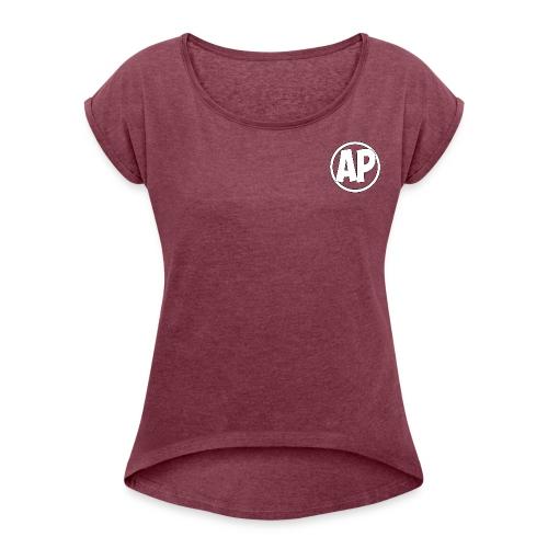 Airplayz logo - Vrouwen T-shirt met opgerolde mouwen