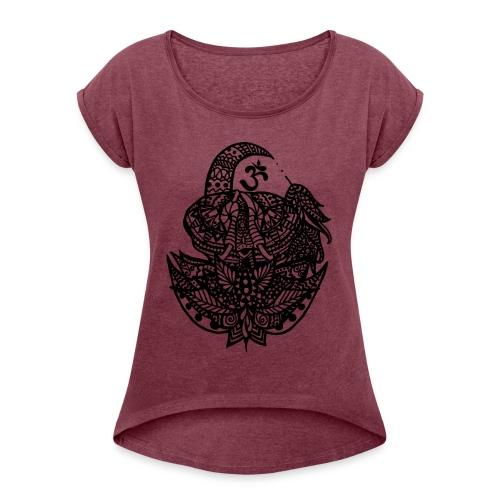 Elefant Om - Frauen T-Shirt mit gerollten Ärmeln