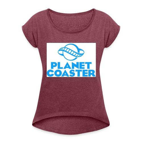 game planet coaster - Vrouwen T-shirt met opgerolde mouwen