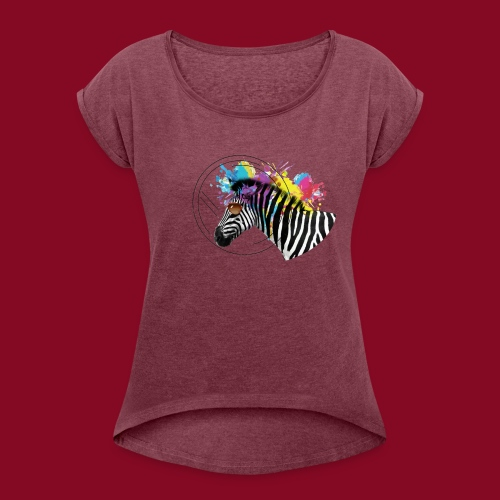 Watercolour-Z - Maglietta da donna con risvolti