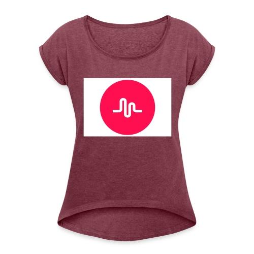 musical.ly - T-skjorte med rulleermer for kvinner