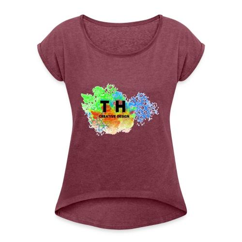 TH CREATIV DESIGN LOGO - Frauen T-Shirt mit gerollten Ärmeln