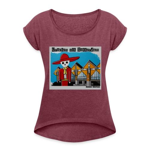 kubus - Vrouwen T-shirt met opgerolde mouwen