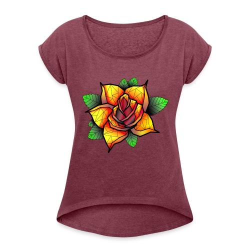 rose - T-shirt à manches retroussées Femme