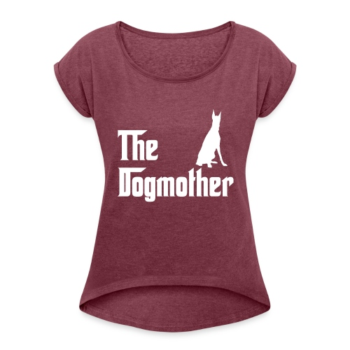 The Dogmother white dobermann - Frauen T-Shirt mit gerollten Ärmeln