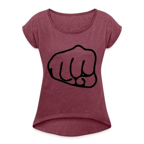 Faustschlag - Frauen T-Shirt mit gerollten Ärmeln