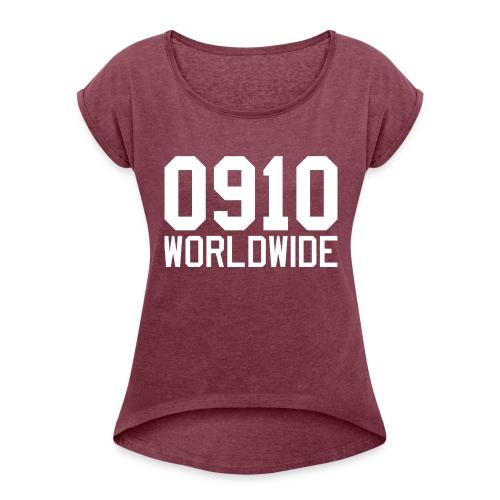 0910 WORLDWIDE CREW CAP - T-shirt med upprullade ärmar dam