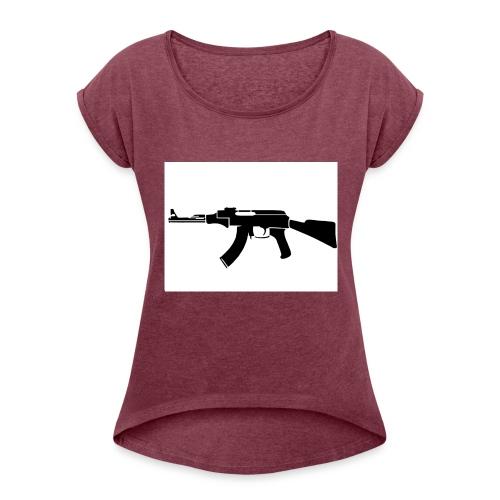 ak47 - T-shirt med upprullade ärmar dam