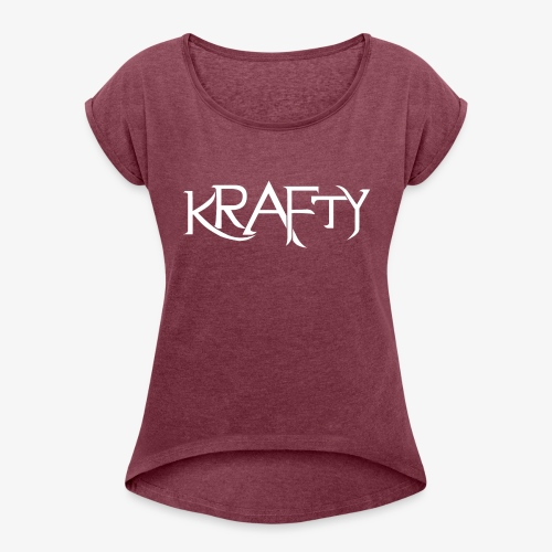 Krafty Logo (White) - Women's T-Shirt with rolled up sleeves