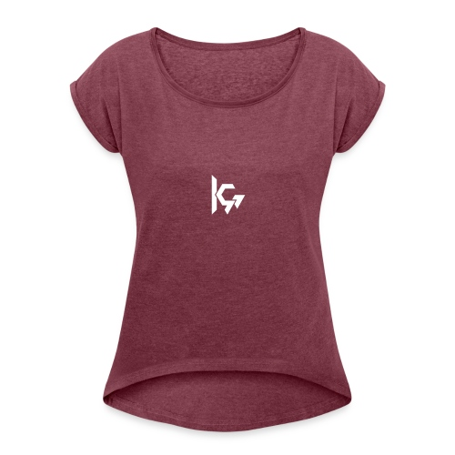 KEVQ_Logo_2016_wit - Vrouwen T-shirt met opgerolde mouwen