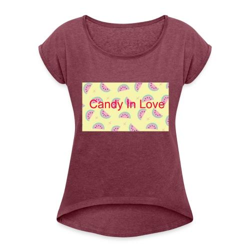 Merchandise Candy In Love - Vrouwen T-shirt met opgerolde mouwen