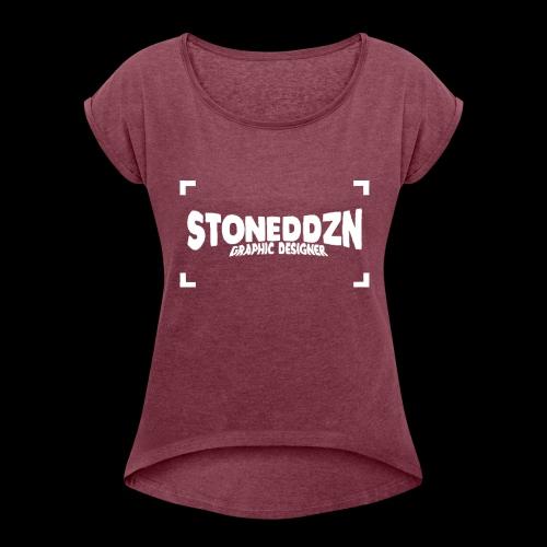 Da ist das YouTube Logo von StonedDzn - Frauen T-Shirt mit gerollten Ärmeln