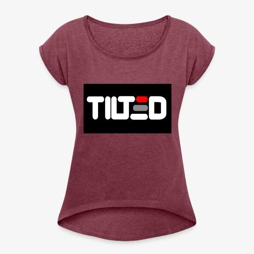 Tilted logo - T-shirt med upprullade ärmar dam