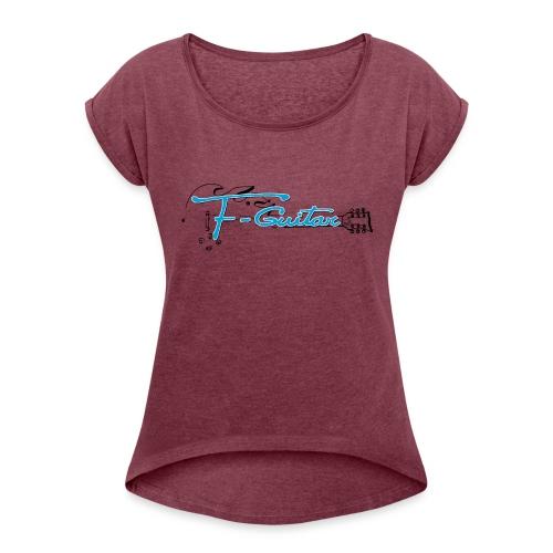 F-Guitar_fond_clair_T-Shirt - T-shirt à manches retroussées Femme