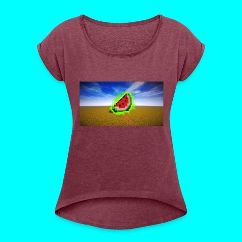 Meloen Heilig - Vrouwen T-shirt met opgerolde mouwen