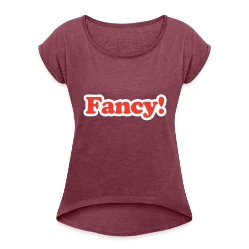 Fancy! - T-shirt med upprullade ärmar dam
