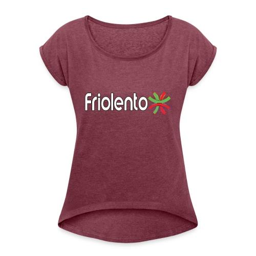 Friolento - T-shirt med upprullade ärmar dam