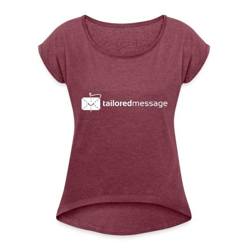 Tailored Message Black Tee - T-skjorte med rulleermer for kvinner
