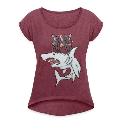 Shark Attack - Women's T-Shirt with rolled up sleeves