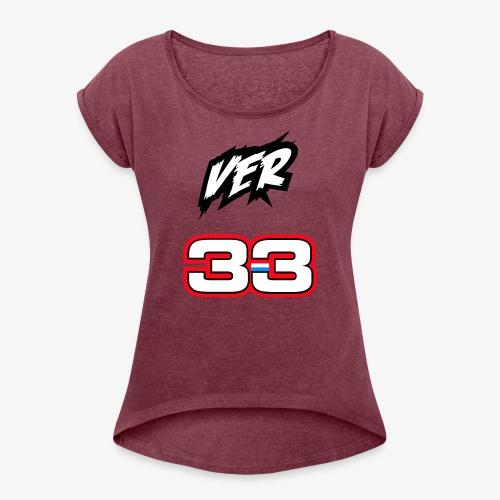 VER #33 - Vrouwen T-shirt met opgerolde mouwen