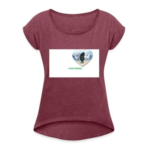 Ilove horses - T-shirt med upprullade ärmar dam