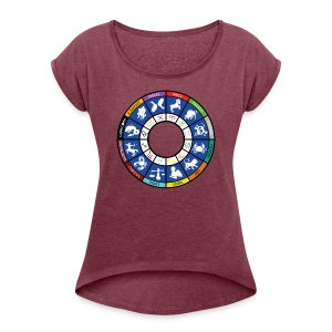 Graphic of the twelve signs of the zodiac - Women's T-shirt with rolled up sleeves