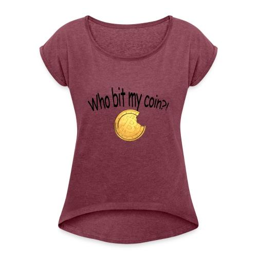 Bitcoin bite - Vrouwen T-shirt met opgerolde mouwen