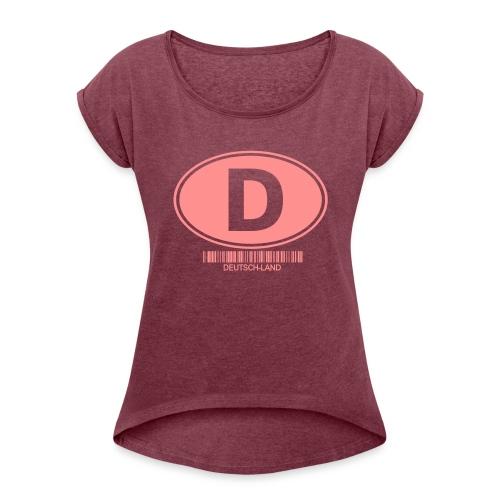 D Deutschland Auto Schild invertiert - Frauen T-Shirt mit gerollten Ärmeln