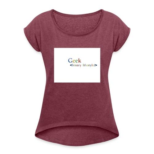 geek_life_style_google_font - Camiseta con manga enrollada mujer