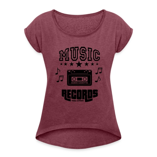 TKHKI MUSIC RECORDS - Naisten T-paita, jossa rullatut hihat