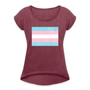 Trans Flag Pattern - Frauen T-Shirt mit gerollten Ärmeln