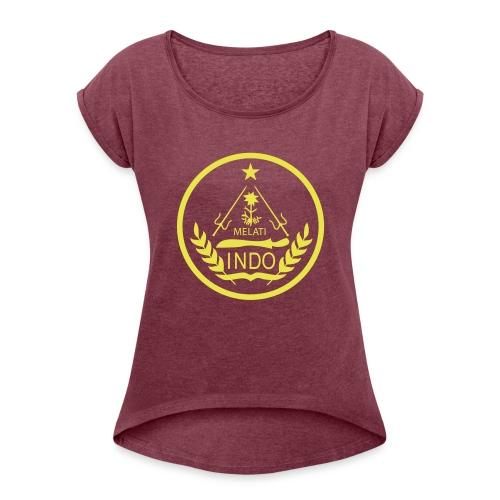 Indo_Melati_GEEL - Vrouwen T-shirt met opgerolde mouwen