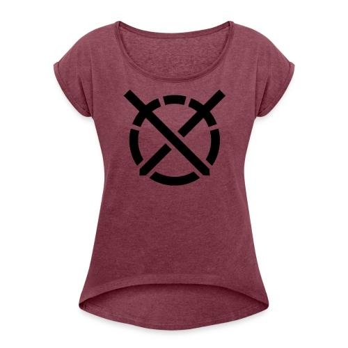 «Arte do Combate» simbolo preto - Camiseta con manga enrollada mujer