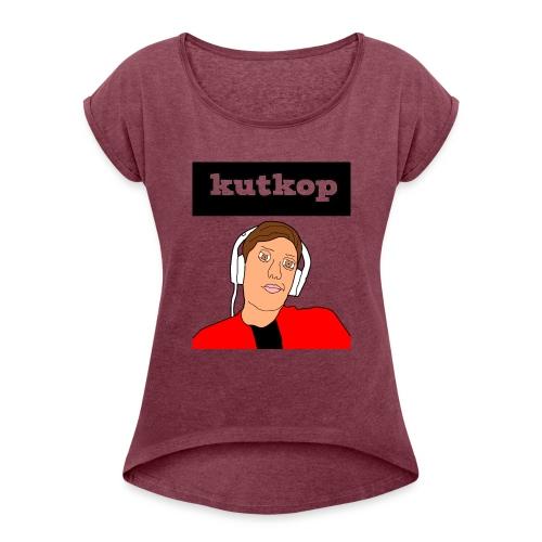 cartoon shirt/KutKopYT - Vrouwen T-shirt met opgerolde mouwen
