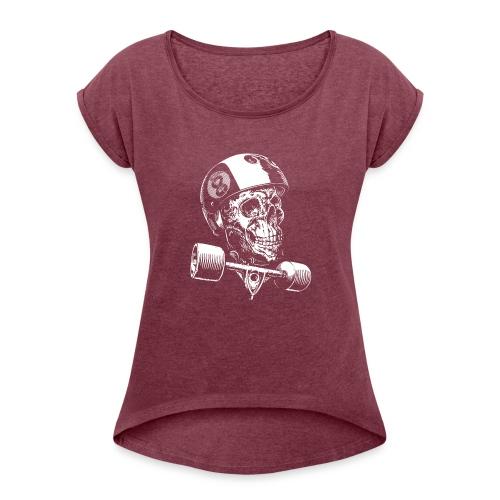 Skull Longboard Rider - negative print - T-shirt à manches retroussées Femme